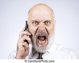 θυμωμένος , τηλεφωνική κλήση , επιχειρηματίας , αρχαιότερος , έχει
