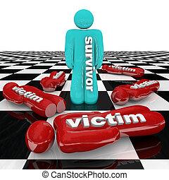θύμα , ακουμπώ , επιζών , πολοί , ένα άτομο , μόνος