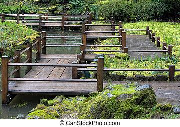 ιάπωνας ασχολούμαι με κηπουρική , πόδια γέφυρα