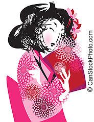 ιάπωνας γυναίκα , κιμονό