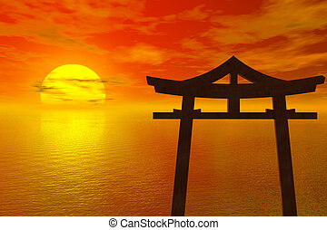 ιαπωνία , ηλιοβασίλεμα