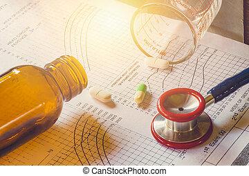 ιατρική θεραπεία , concept., ιατρικός γραφική παράσταση , ασθενής , ακολουθώ , πάνω , διάγνωση , ανάλυση , με , στηθοσκόπιο , για , γιατρός , μέσα , hospital.