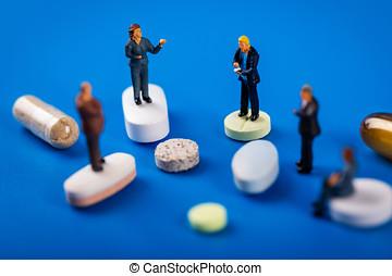ιατρική περίθαλψη , και , φαρμακευτική , βιομηχανία , αρμοδιότητα ακόλουθοι , συνάντηση , γενική ιδέα