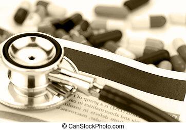 ιατρικός αντίληψη , με , στηθοσκόπιο , και , φάρμακο , φόντο.