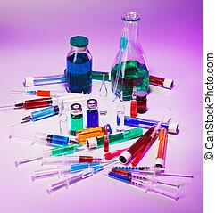 ιατρικός , εργαστήριο , γυαλί , εξοπλισμός , εικών άψυχων πραγμάτων , επάνω , μπλε , πορφυρό