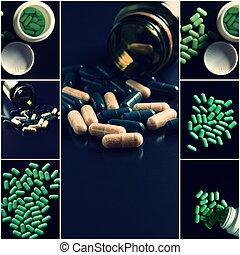 ιατρικός , θέμα , collage., πράσινο , ανιαρός , θέτω , από , άγαλμα , αόρ. του shoot , με , copyspace