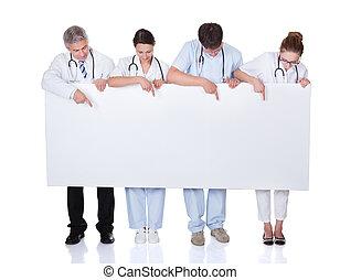 ιατρικός , πάνω , κράτημα , άσπρο , σημαία , προσωπικό
