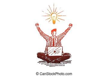 ιδέα , επιχειρηματίας , αόρ. του get , χέρι , καλός , μετοχή του draw