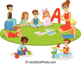 ιζβογις , πάτωμα , αλφάβητο , κάθονται , με γραμμές , νέος , δασκάλα , βρεφικό δωμάτιο , γνώση , παίξιμο , παιδιά