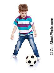 ιλαρός , αγόρι , μικρός , ποδόσφαιρο , παίξιμο