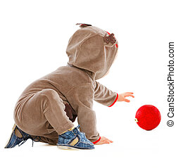 ιλαρός , μωρό , παίξιμο , με , διακοπές χριστουγέννων μπάλα
