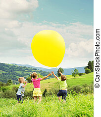 ιλαρός , balloon, μικρόκοσμος , λιβάδι , παίξιμο
