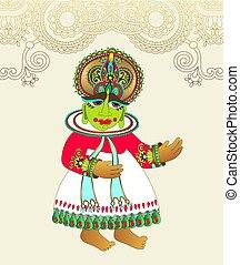 ινδός , πρωτότυπο , παραδοσιακός , χορευτής , kathakali, ...