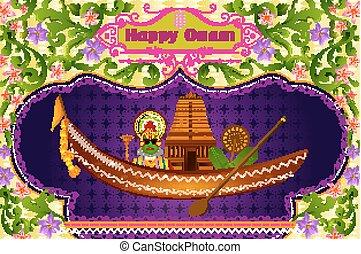ινδός , onam, χορευτής , νότιο , kathakali, κρόταφος , βάρκα...