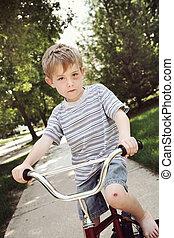 ιππασία , βλάβη , αγόρι , ποδήλατο , νέος