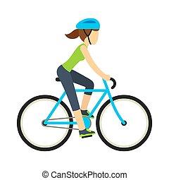 ιππασία , γυναίκα , ποδήλατο