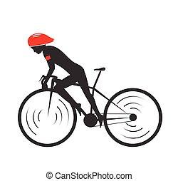 ιππασία , ποδήλατο , σχεδιάζω , σύμβολο. , μικροβιοφορέας , illustration.