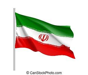 ιράν , εθνική σημαία , εικόνα , ρεαλιστικός , μικροβιοφορέας