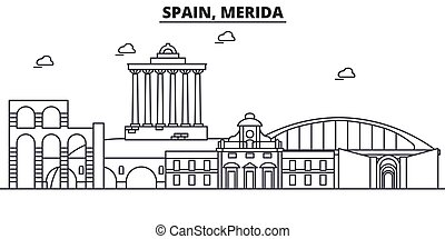 ισπανία , merida , αρχιτεκτονική , γραμμή , γραμμή ορίζοντα , illustration., γραμμικός , μικροβιοφορέας , cityscape , με , φημισμένος , αξιοσημείωτο γεγονός , πόλη , αξιοθέατα , σχεδιάζω , icons., τοπίο , wtih, editable, αποπληξία