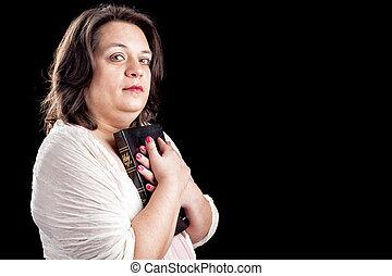 ισπανικός γυναίκα , με , άγια γραφή