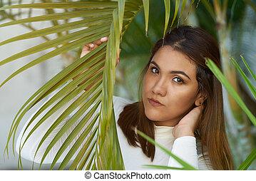 ισπανικός γυναίκα , νέος , headshot