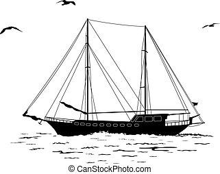 ιστιοφόρο , μέσα , ο , θάλασσα , και , πουλί , απεικονίζω σε σιλουέτα