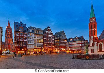 ιστορικός , κέντρο , από , frankfurt , τη νύκτα