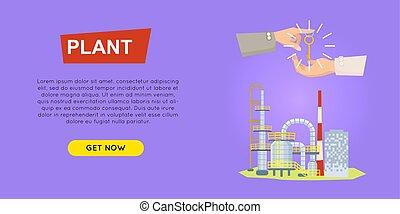 ιστός , εργοστάσιο , banner., selling., online., ιδιοκτησία, περιουσία , εξαγορά