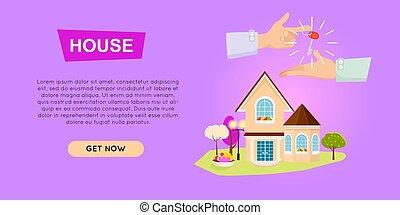 ιστός , banner., σπίτι , selling., online., ιδιοκτησία, περιουσία , εξαγορά