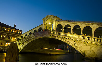 ιταλία , νύκτα , γέφυρα , rialto , βενετία