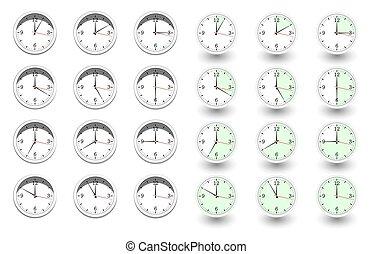 κάθε , clocks, θέτω , ώρα