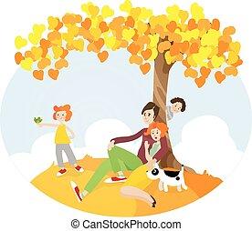 κάθονται , δέντρο , οικογένεια , κάτω από
