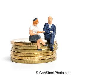 κάθονται , μινιατούρα , επιχειρηματίας , επινοώ , θημωνιά , people: