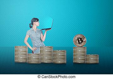 κάθονται , laptop , bitcoin, πλευρά , ασιάτης , επιχειρηματίας , θημωνιά , βλέπω