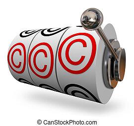 κάνω αύλακα , c , γράμματα , αποκλειστικό δικαίωμα ανατύπωσης σύμβολο , τρία , μηχανή , λόγια