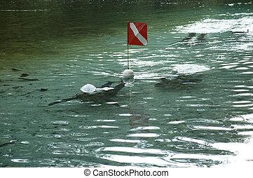 κάνω βουτιά , ποτάμι , σημαία , διάφορος