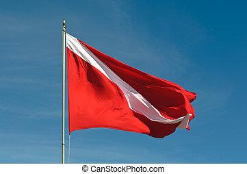 κάνω βουτιά , σημαία , κατάδυση με φιάλη