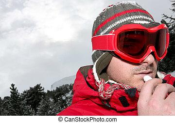 κάνω σκι αποβλακωμένο κοίταγμα , closeup , άντραs