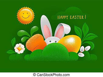 κάρτα , απόκρυψη , easter κουνελάκι , αυγό , καρότο , ευτυχισμένος , γρασίδι , χαιρετισμός