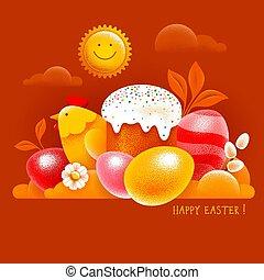 κάρτα , αυγά , κέηκ , πόσχα , έγχρωμος , βάζω τζάμια , ευτυχισμένος , κοτόπουλο , σύμβολο , χαιρετισμός