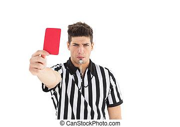 κάρτα , αυστηρός , εκδήλωση , διαιτητής , κόκκινο