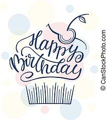 κάρτα , αφίσα , γενέθλια , χαιρετισμός , γράμματα , cake., print., ευτυχισμένος , φόρμα