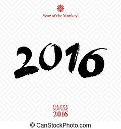 κάρτα , ευτυχισμένος , έτος , καινούργιος , καλλιγραφία , φόντο. , μαϊμού , σήμα , απομονωμένος , άσπρο , 2016