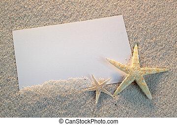 κάρτα , καλοκαίρι , θάλασσα , αστερίας , ηλιόλουστος , άμμοs...