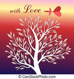 κάρτα , με , δέντρο , και , πουλί , ερωτευμένα