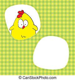 κάρτα , με , χαριτωμένος , κοτόπουλο