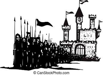 κάστρο , στρατεύματα , στρατόs