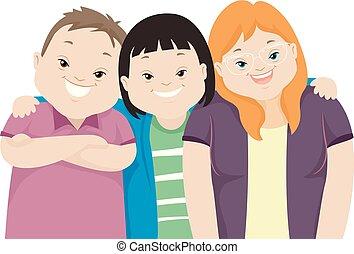 κάτω , εφηβική ηλικία , φίλοι , σύνδρομο , εικόνα