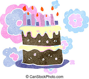 κέηκ, γενέθλια,  retro, γελοιογραφία