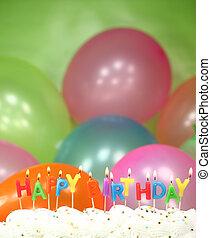 κέηκ, κερί, μπαλόνι, εορτασμόs